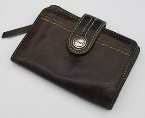 Fossil Womens Brown Smooth Leather Wallet Green Lining What Vintage Are You?