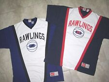 Vintage Style Rawlings V-Neck Red White Blue Black Sports Shirt Jersey Used Xl L