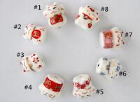 10Pcs Cute Cat Pattern Desgin Ceramic Bead Porcelain Loose Spacer Beads 12x14mm