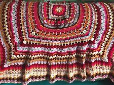 Unique HAND Crochet Scialle Afgano Buttare Festival Coperta Rosa Arancione Pesca Rosso