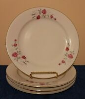 3 Fine China Dinnerware Moss Rose Design  10'' dinner plates Gold Trim