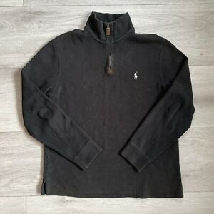 Polo Ralph Lauren 1/4 Zip Size Medium Mens Black Pullover