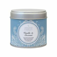 NEW Shearer Candles Vanilla and Coconut Large Scented Silver Tin Candle White