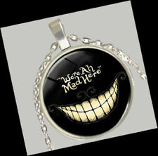cheshire Cat Pendant & chain Necklace We're All Mad Here Alice in Wonderland