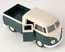 BLITZ VERSAND VW T1 Double Cabin Pick Up grün Welly Modell Auto 1:34 NEU & OVP