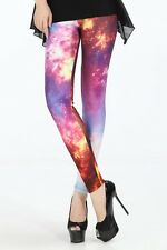 Womens Girls Fashion Galaxy Leggings New Small Rock Chick Punk Gothic Goith