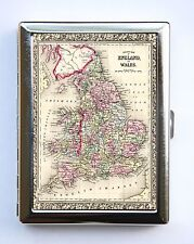 England UK Wales Map Cigarette Case Wallet Business Card Holder id case