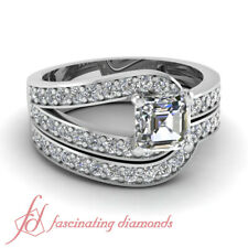 .75 Ct Asscher Cut Untreated Diamond Wedding Rings Pave Set 14K VVS2-E Color GIA