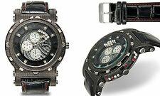 NEW Geneva Platinum 3253 Men's Sizzle Collection Large Red Bling Crystals Watch