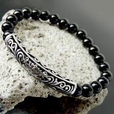 Stability Healing Bracelet Bright Black Onyx & Sterling Silver Lotus Charm 911-7