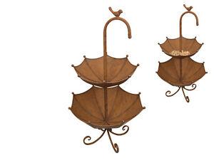 63cm Antique Bird Feeder/Bath Metal Umbrella Design Outdoor Garden