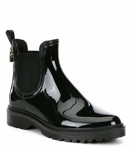 MICHAEL KORS Tipton Black Rain Booties Gold Locket Charm Women's Size 10