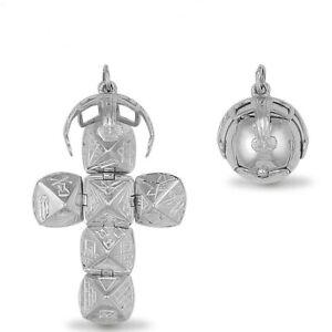 New 925 Sterling Silver Masonic Opening Orb Cross Ball Pend Charm Medium Size