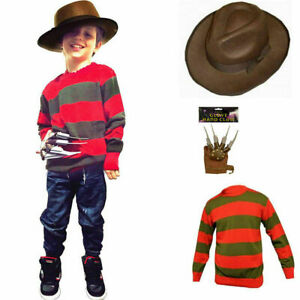 CHILDRENS SCARY BURNT MAN HALLOWEEN COSTUME FREDDY STYLE FANCY DRESS OUTFIT UK