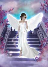 Heavenly Angel Birthday Card for women & girls gorgeous lilac flowers on steps