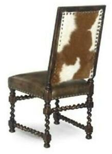 J NEAL DINING CHAIR TRADITIONAL ANTIQUE SIDE LEATHER TABACCO NON-REMOVABLE L