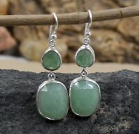 Solid 925 Sterling Silver Jewelry Checker Tumble Green Aventurine Earring SE3425