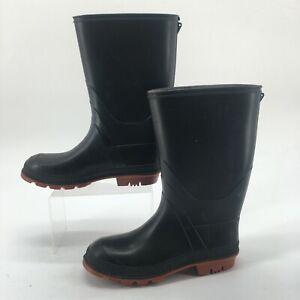 Unbranded Mens 6 Pull On Waterproof Mid Calf Garden Rain Boots Black Rubber