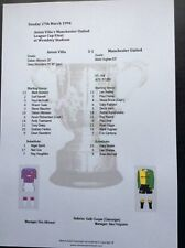 1993-94 League Cup Final Aston Villa v Manchester's United Matchsheet