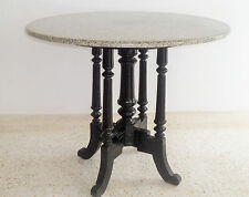 VINTAGE ! Granite top old coffee shop design timber leg table in good condition