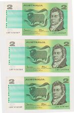 (N6-14) 1989 AU 5x $2.00 bank notes in sequence (K)