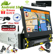 "Single 1DIN 7""Android 10.0 HD Flip Up GPS Navigation Car Stereo DVD Radio Player"