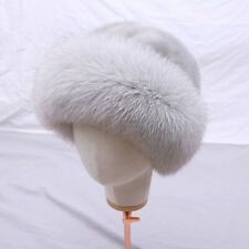 Mink Fur Full Pelt Beanies Top Hat Real Fox Fur Brim Lady Winter Fur Cap Solid