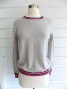 CHINTI & PARKER Gray 100% Cashmere Crew Neck Sweater Striped Accents -S