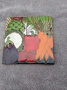 Terra Cotta Tile Trivet vegetables colorful