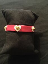 Rustic Cuff Meagen Single Bracelet With Hearts. Red Leather With White And Gold