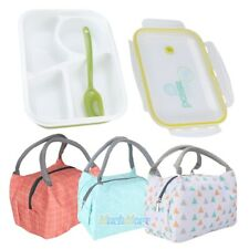 Portable Insulated Thermal Cooler Bento Lunch Box with Tote Picnic Storage Bag