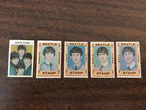 = MINT = Set Of 5 BEATLES 1964 Hallmark Stamps John Paul George And Ringo