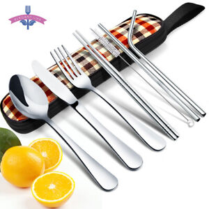 8Pcs Portable Travel Cutlery Set Reusable Stainless Steel Flatware Camping