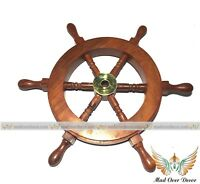 "COLLECTIBLE NAUTICAL HOME WALL DECORATIVE 9"" WOOD & BRASS ANTIQUE SHIP WHEEL"