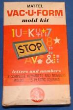 MATTEL VACUFORM MOLDS KIT #435 LETTERS & NUMBERS 15 PLASTIC SQUARES 3 ALPHABETS