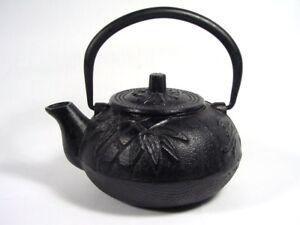 Japanese Cast Iron Teapot Green Tea Brewing Sho Chiku Bai Motif