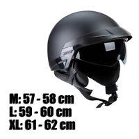 Moto demi casque visière rétractable noir mat pour Harley Durable
