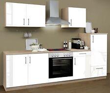 Küchenzeile CHRISTIN CF 270cm incl. Geräte, Hochglanz Weiss, Sonoma Eiche Nb.