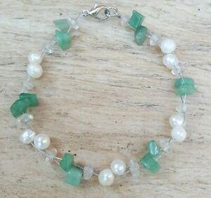 Freedom Tree Jade & Real Freshwater Pearl Gemstone Bracelet Hand Made