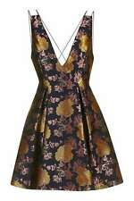 Topshop Plunge Floral Jacquard Dress Occasion Party Wedding / Size 10 Navy Gold