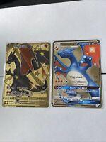 Pokemon GOLD Shiny Charizard V + GX Metal Cards CUSTOM 79/73 SV49/SV94 - IN HAND