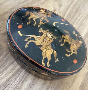 Black Lacquer Oval Indian Box Horseback Polo Kashmir Govt. Arts Emporium