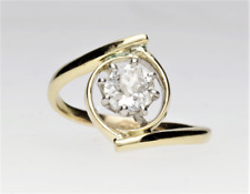 EDWARDIAN SOLITAIRE DIAMOND CROSSOVER TWIST RING .65cts