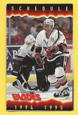 Kansas City Blades 1994-95 Photo Schedule IHL Sharks - Pascucci - Argosy Casino