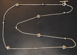 Lois Hill Sterling Silver Wire Wrapped Necklace w/Scroll Beads & Flowers