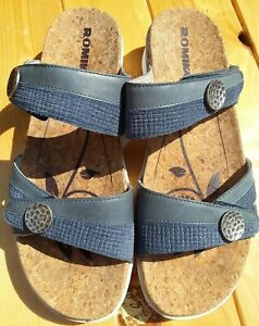 Romika blue leather slip on mules shoes sandals cork footbed size 40 6.5