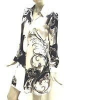 Versace Collection Camicia Seta Maglia Lunga Donna Nero Bianco ManicaLunga 32796