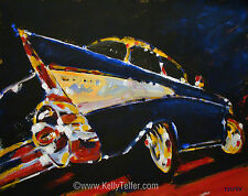"'57 Chevy Bel Air' 1957 1950's Chevrolet Vintage 16"" x 20"" Art Print- by Telfer"