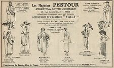 Y7067 Magasins PESTOUR - Mantaux SALF - Pubblicità d'epoca - 1922 Old advert