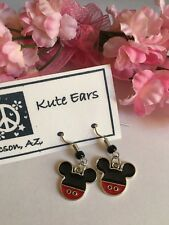 "Silvertone 1/2"" Mickey Mouse Head Traditional Outfit Design Dangle Earrings"